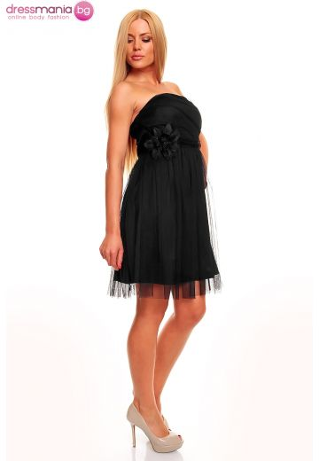 Официална черна рокля тюл
