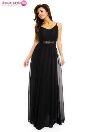 Дълга черна рокля с тънки презрамки MIliana