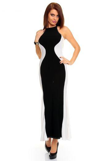 Дълга лятна рокля в бяло и черно