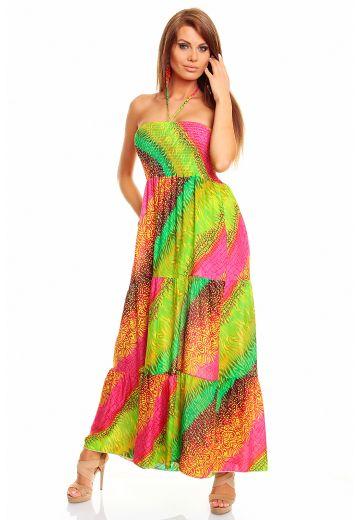 Дълга лятна колоритна рокля