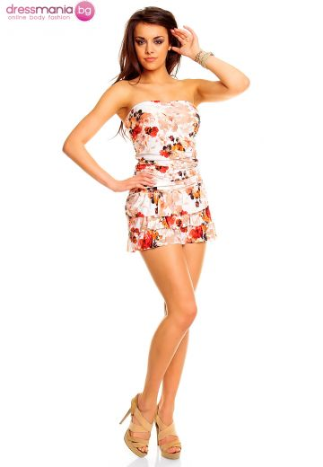 Свежа лятна рокля с цветен флорален принт