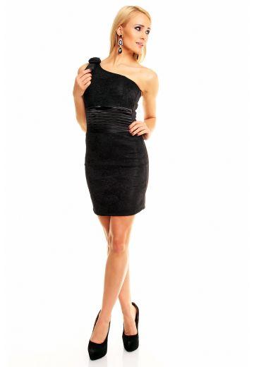 Къса черна рокля с цвете