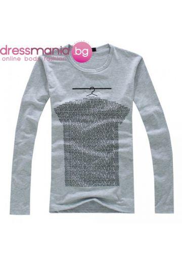 Сива памучна блуза