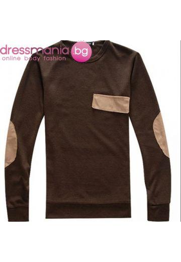 Блуза за момче кафе с платки Just