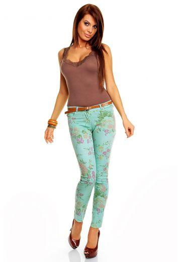 Бледо синьо-зелен панталон с флорален принт