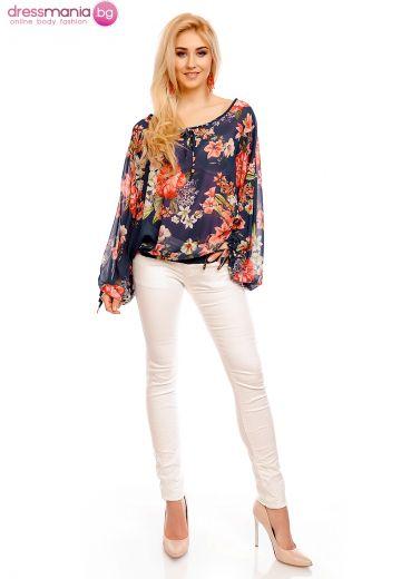 Блуза с широки ръкави и флорален принт Moda Fashion в синьо