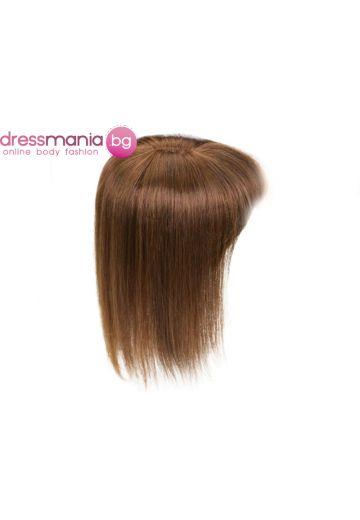 Топер дамски в кафяво 20-45см с бретон естествена коса