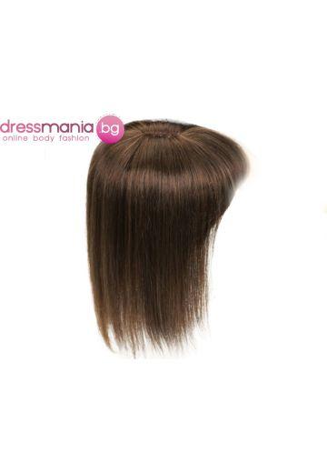 Топер дамски в тъмнокафяво 20-45см с бретон естествена коса