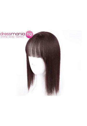 Дамски топер 25-35 см в тъмнокафяво - изкуствн косъм