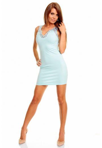 Елегантна рокля с акрил цвят аква
