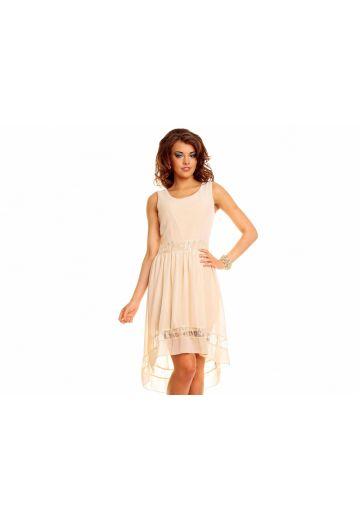 Нежна асиметрична рокля лайт беже
