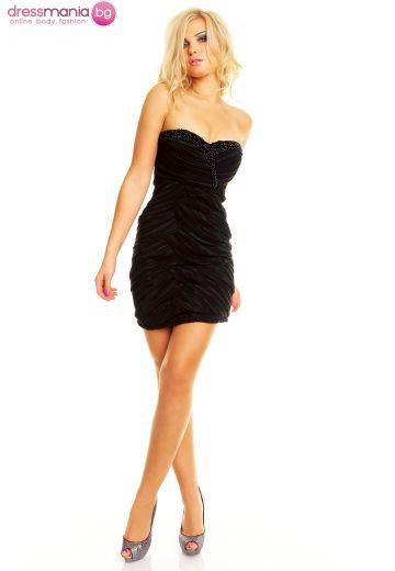 Официална гофрирана рокля в черно
