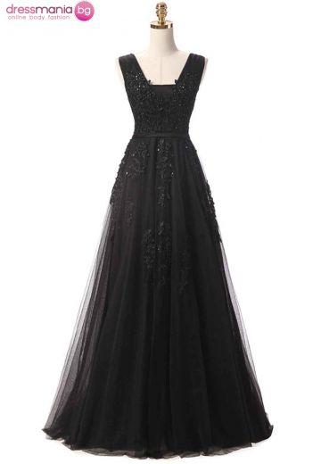 Дълга черна рокля SSYF с перли и дантела