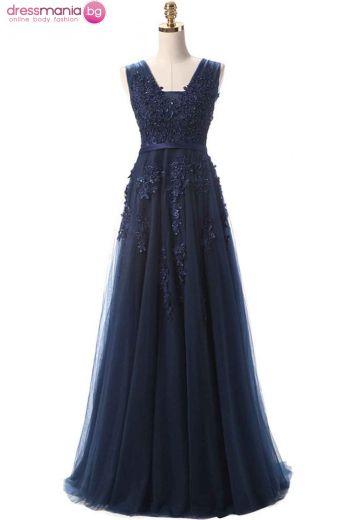 Дълга официална рокля SSYF в тъмносиньо