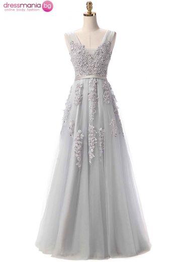 Дълга официална рокля SSYF в сиво