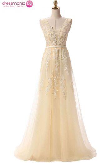 Дълга официална рокля SSYF в цвят шампанско