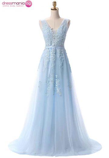 Дълга официална рокля SSYF в светлосиньо