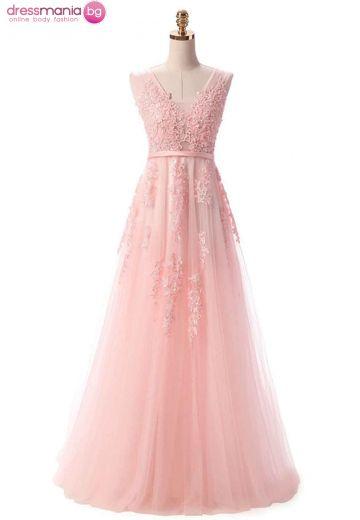 Дълга официална рокля SSYF в светлорозово