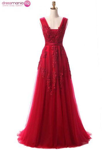 Дълга официална рокля SSYF в цвят червен класик