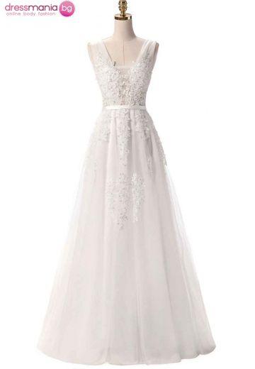 Дълга булчинска рокля SSYF с перли и дантела