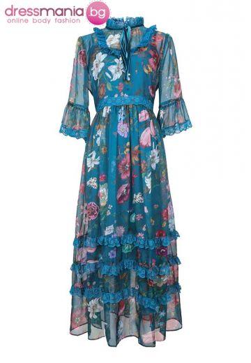 Лятна рокля в син флорален десен SEQINYY