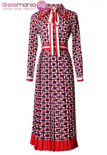 Ежедневна рокля червено бяло синьо SEQINYY