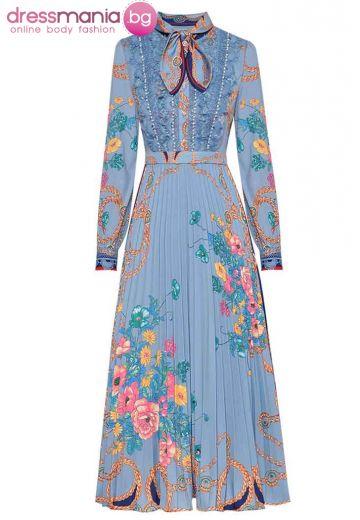 Официална плисирана рокля в синьо MoaaYina