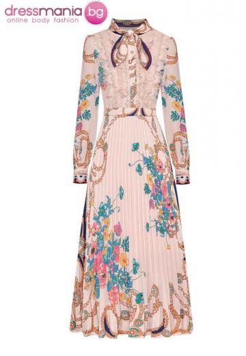 Официална плисирана рокля в цвят каки MoaaYina