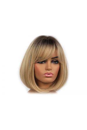 Руса дамска синтетична перука прическа черта с бретон 25cm