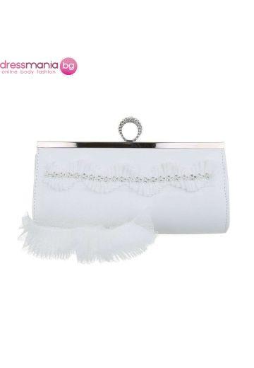Бяла булчинска чанта с бяло перо