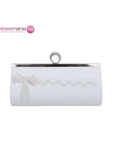 Бяла булчинска чанта с перлена декорация