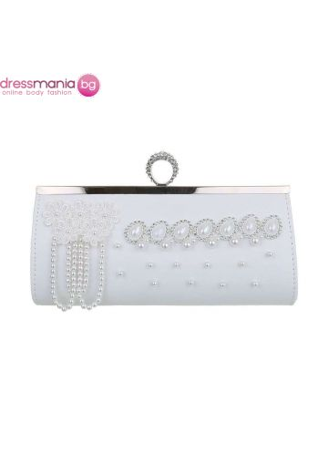 Бяла булчинска чанта с акрилна декорация