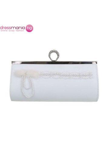 Булчинска чанта с декорация от акрилни перли