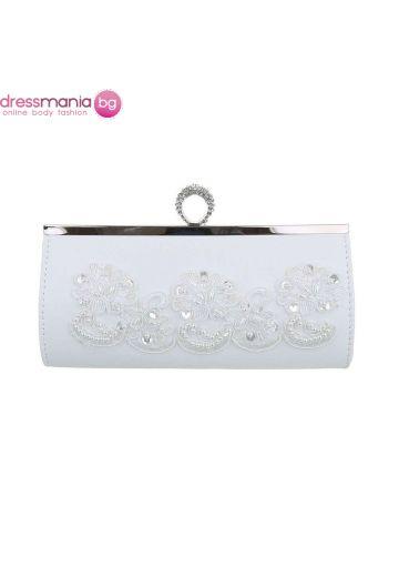 Булчинска чанта с нежен акрилен декор