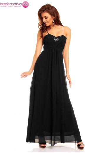 29395287e30 Официална дълга черна рокля с тънки презрамки Charm´s