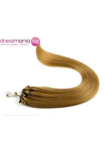 Екстеншън от естествен косъм 50 бр, капси цвят #14