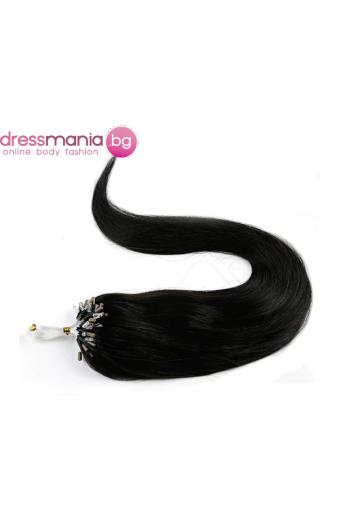 Екстеншън от естествен косъм 50 бр, капси цвят #1B