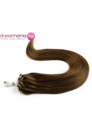 Екстеншън от естествен косъм 50 бр, капси цвят #30