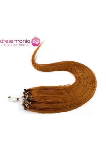 Екстеншън от естествен косъм 50 бр, капси цвят #35