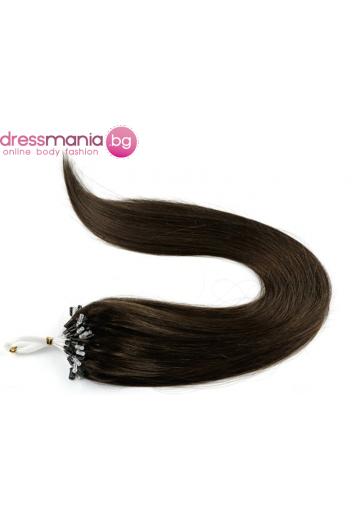 Екстеншън от естествен косъм 50 бр, капси цвят #6
