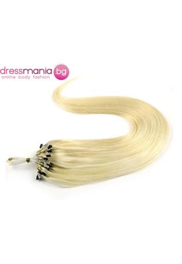 Екстеншън от естествен косъм 50 бр, капси цвят #60