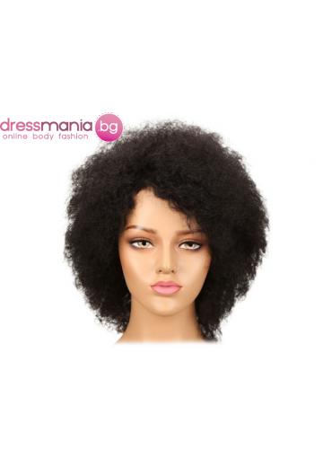 Афро перука от естествен косъм 1B