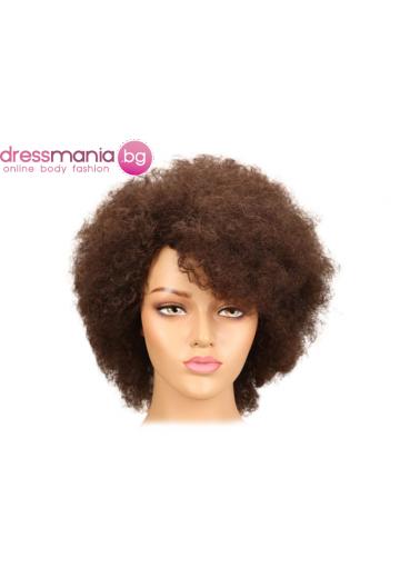 Афро перука от естествен косъм #4