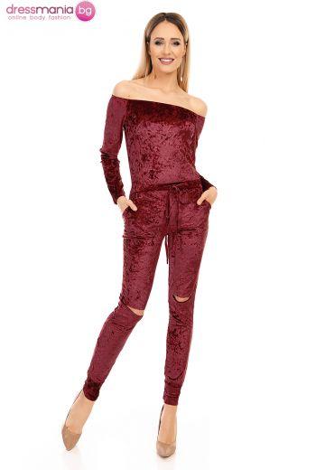 Атрактивен дамски гащиризон плюш Moody´s бордо