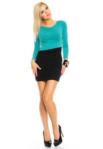 Двуцветна рокля по тялото черно и синьо-зелено