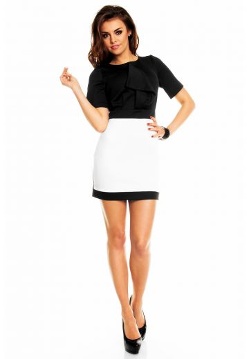 Ефектна двуцветна рокля в черно и бяло
