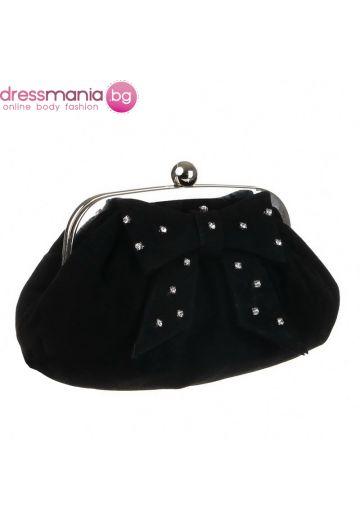 Черна чанта с кристали за официален повод