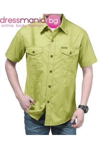Ежедневна мъжка риза цвят киви с широк къс ръкав