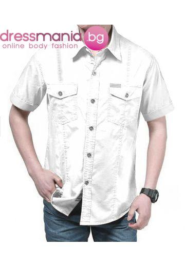 Ежедневна мъжка риза цвят бял с широк къс ръкав