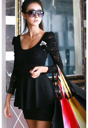 Черна рокля дантела и пеплум - дефект